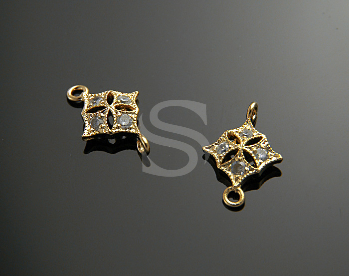 [S-125-G] 4 Pcs / Swarovski Detailed European Style Square Connector / Brass / 9mmx13.7mm