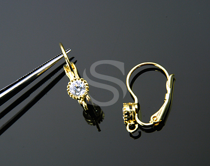 [S-129-G] 2 Pcs / CZ Detailed Delicate Round Earring Fidings
