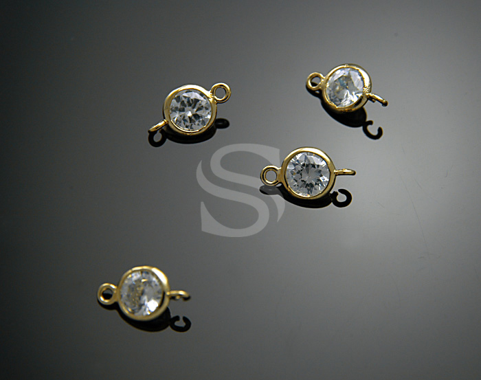 [H0131-C3-GCR] 4 Pcs / Single Cubic Zirconia Detailed Connectors with Smooth Rolled Up Edge / Brass + CZ / 7.5 mm x 12 mm