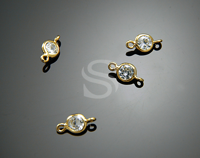 [H0131-C1-GCR] 4 Pcs / Single Cubic Zirconia Detailed Connectors with Smooth Rolled Up Edge / Brass + CZ / 4mm x 8mm