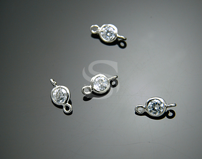 [H0131-C1-RFCR] 4 Pcs / Single Cubic Zirconia Detailed Connectors with Smooth Rolled Up Edge / Brass + CZ / 4mm x 8mm