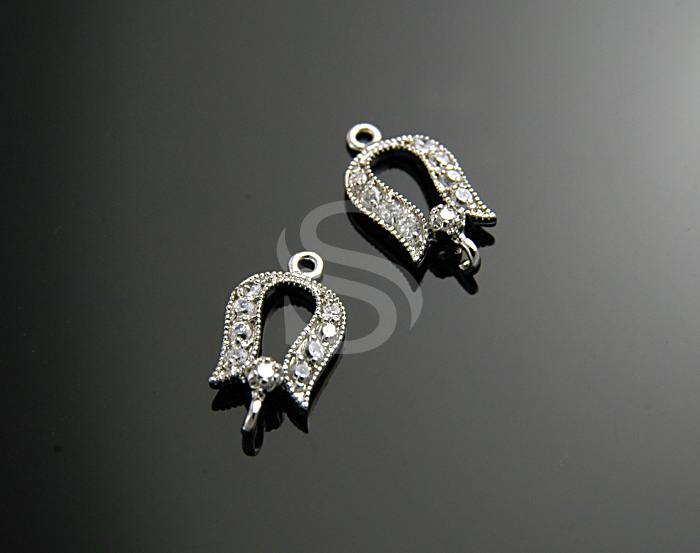 [H0139S-C-RF] Swarovski Detailed Petite Tulip Connector / 7.6mm x 14mm