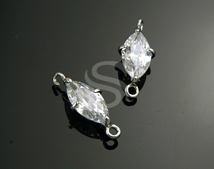 [H0150-C-RF] Crystal CZ Detailed Prong Setting Marquise Connector / Brass / 7mmx18.6mm