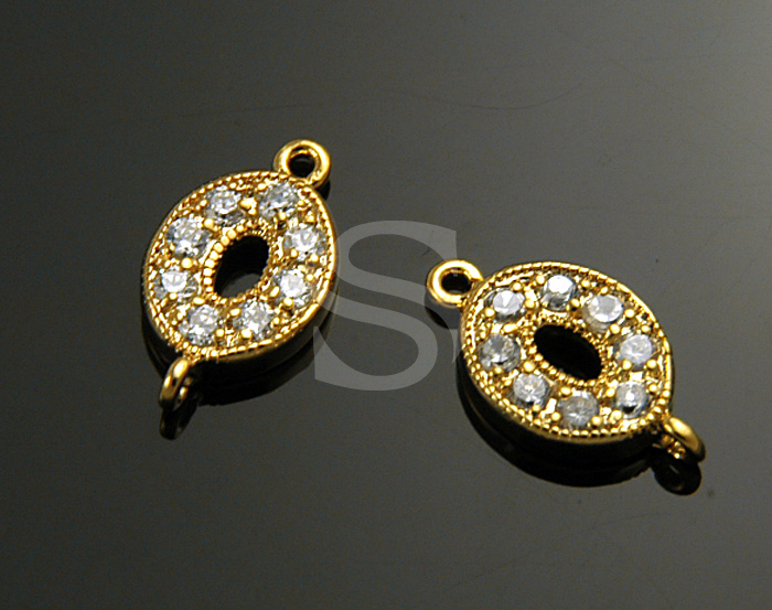 [H0299-C1-GCR] Swarovski Detailed Oval Connector / Brass / 7.7mmx13.7mm