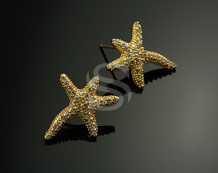[H0156-E-G] Swarovski Detailed Starfish Earrings / Brass / 18mmx21.7mm