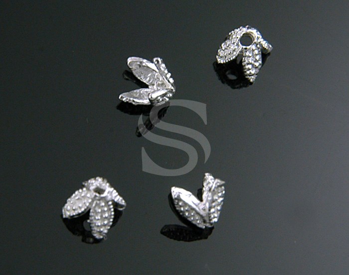 [BS0706S] 4 Pcs / Dainty Four Petal Flower Beads Cap / 92.5% Sterling Silver / 3mmx3mm