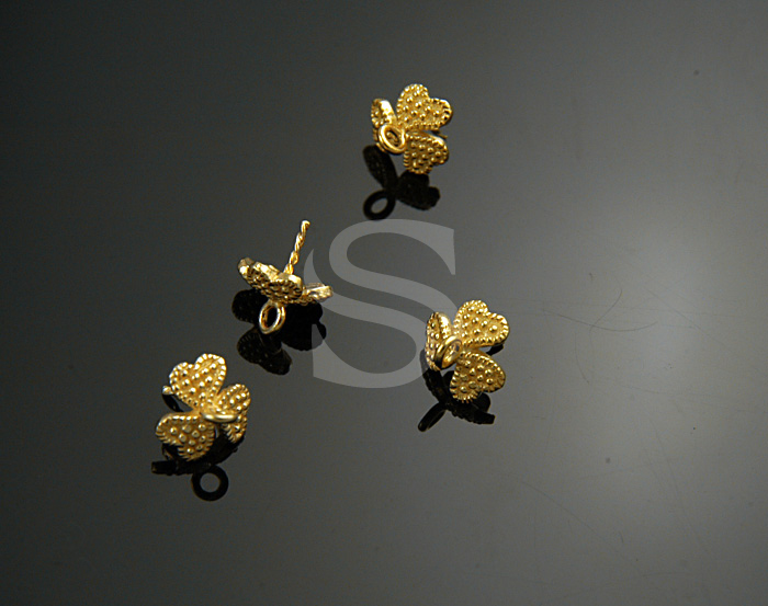 [BS0726S-G] 4 Pcs / Three Leaves Clover Bead Charm / 925 Sterling Silver / 6mmx8mm