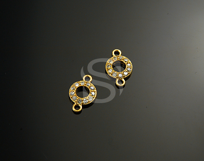 [H0162S-C-G] 2 Pcs / Swarovski Detailed Round Connector / 925 Sterling Silver / 7mmx11.7mm