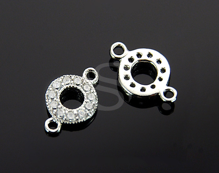 [H0162S-C-RFCR] 2 Pcs / Swarovski Detailed Round Connector / 925 Sterling Silver / 7mmx11.7mm