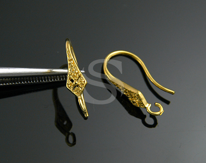 [H0173S-H-G] 4 Pcs / Long Marquise Shape French Hook Earwire / 92.5% Sterling Silver / 3mmx14mm