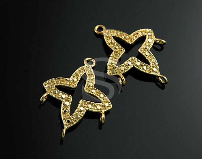 [B0980S-C2-G] 2 Pcs / Dainty European Style Star Chandelier / 92.5% Sterling Silver / 15mmx20mm