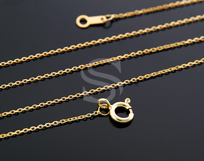 [CH1604S-G] 1Pcs / Highly Polished Flat Cable Chain / 92.5% Sterling Silver /0.6mm X 400mm