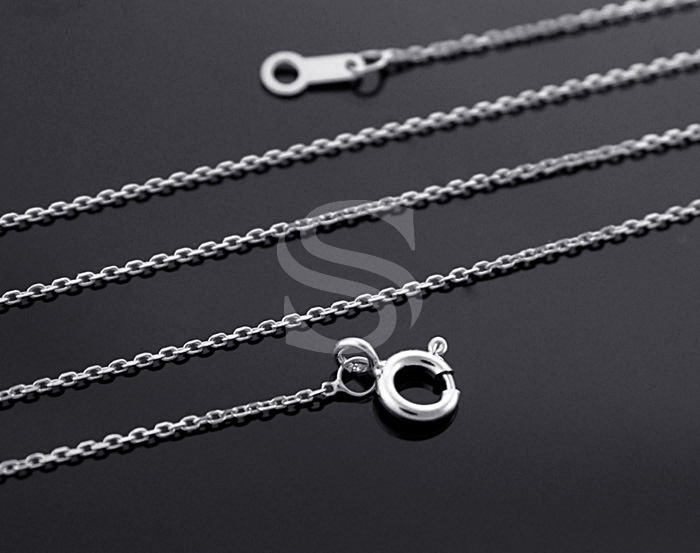 [CH1604S-RF] 1Pcs / Highly Polished Flat Cable Chain / 92.5% Sterling Silver /0.6mm X 400mm