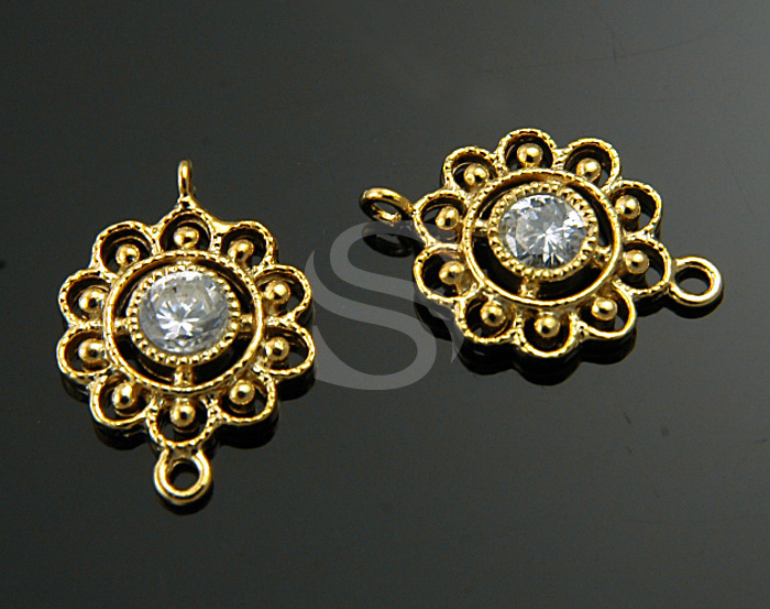 [H0195S-C-G] 2 Pcs / Detailed Oriental Motif Flower Line Art Connetor / 92.5% Sterling Silver / 9.6mmx14mm
