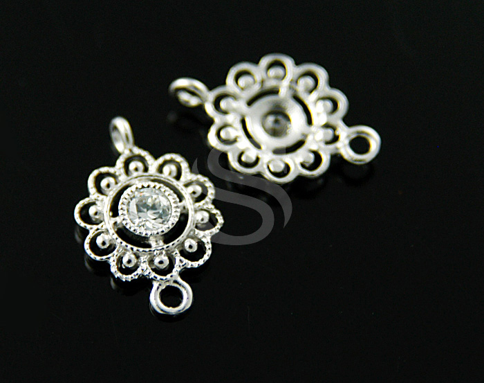 [H0195S-C-RF] 2 Pcs / Detailed Oriental Motif Flower Line Art Connetor / 925 Sterling Silver / 9.6mmx14mm