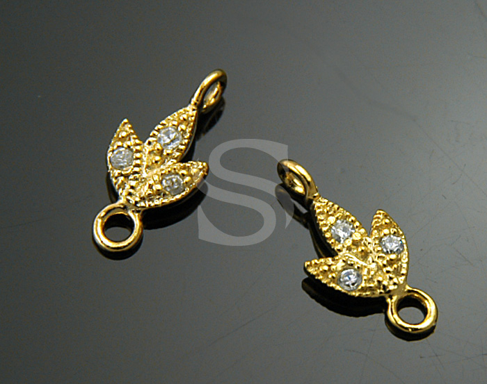 [H0206-C-G] 2 Pcs / Swarovski Detailed Three Petals Flower Connector / 92.5% Sterling Silver / 5mmx11mm