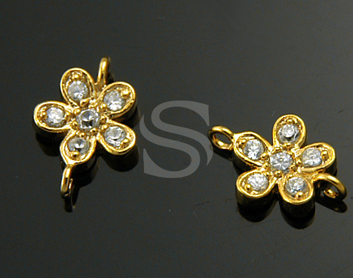 [H0207S-C-G] 2 Pcs / CZ Detailed Five Petals Flower Connector / 92.5% Sterling Silver / 7mmx10mm