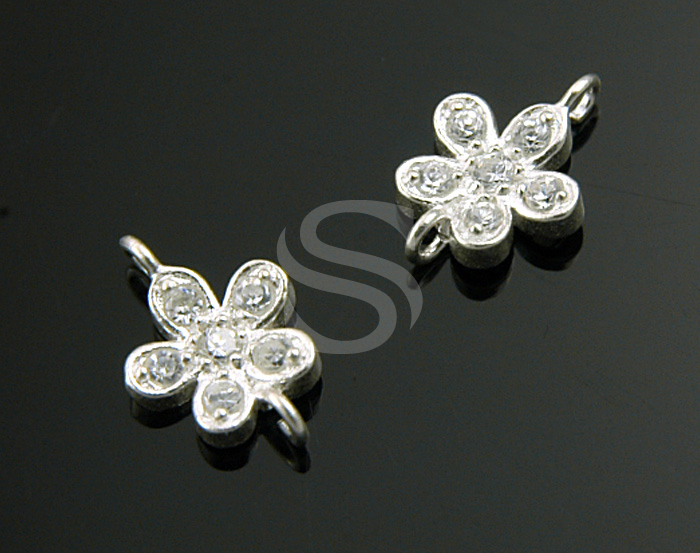 [H0207S-C] 2 Pcs / CZ Detailed Five Petals Flower Connector / 92.5% Sterling Silver / 7mmx10mm