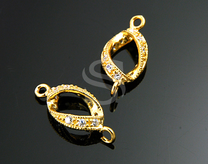 [H0208-C1-G] 2 Pcs / Swarovski Detailed Elegant Line Distorted Connector / 92.5% Sterling Silver / 7mmx15mm