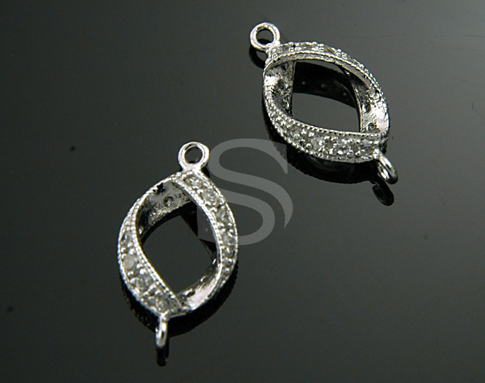 [H0208-C2-RF] 2Pcs / Swarovski Detailed Elegant Line Distorted Connector / 8.8mmx17mm