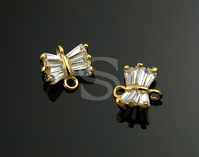 [H0210-C-G] 2 Pcs / Baguette Cut Detailed Butterfly Connector / Brass / 7.7mmx7mm