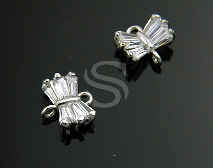 [H0210-C-RF] 2 Pcs / Baguette Cut Detailed Butterfly Connector / Brass / 7.7mmx7mm
