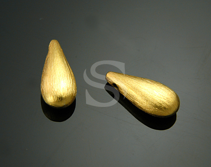 [B1661S-P-G] 2 Pcs / Natural Brush Textured Long Teardrop Pendant / 925 Sterling Silver / 6mmx14.7mm