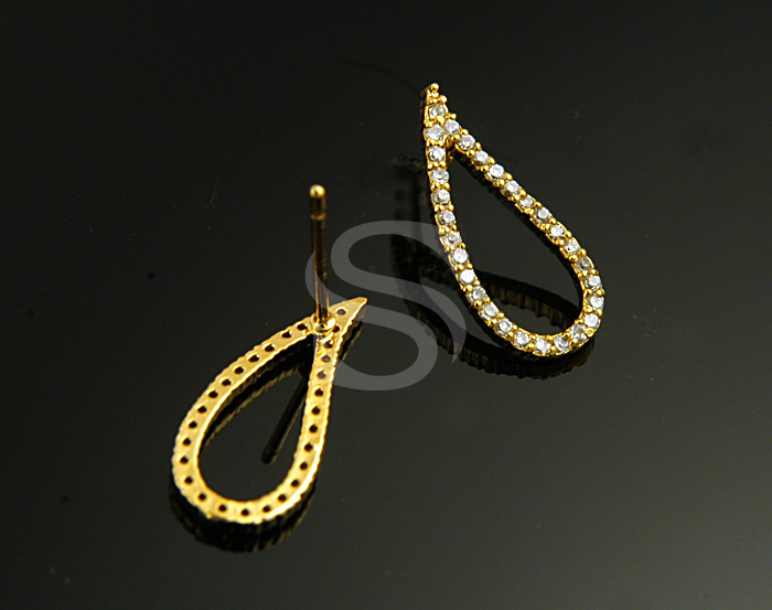 [H0222-E-G] 2 Pcs / Swarovski Detailed Dainty Teardrop Stud Earrings / Brass / 8mmx18.6mm