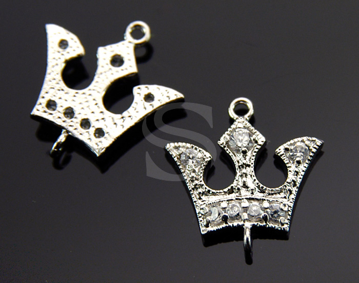 [H0224-C-RF] 2 Pcs / Queens Crown Connector / 925 Sterling Sliver / 12.6mm x 13.7mm