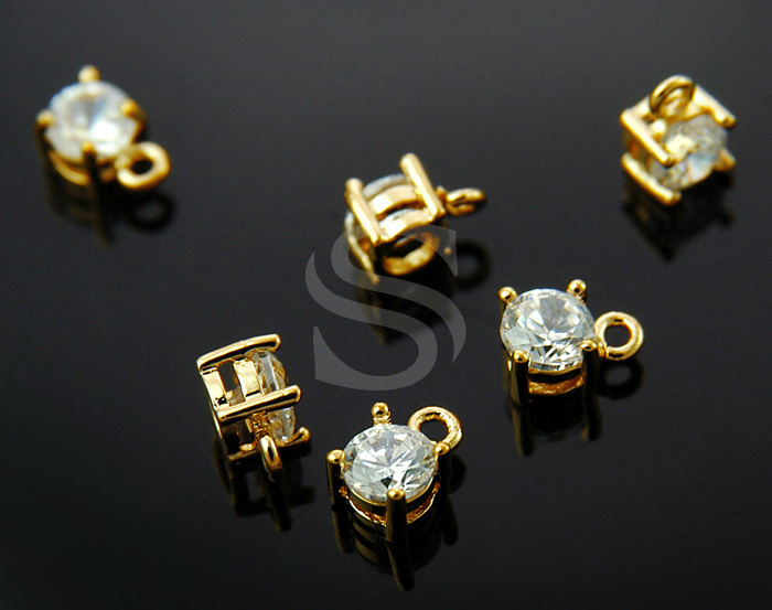 [H0232-P-GCR] 6 Pcs / CZ Detailed Prong Setting Charm / Brass / 4mm x 6mm