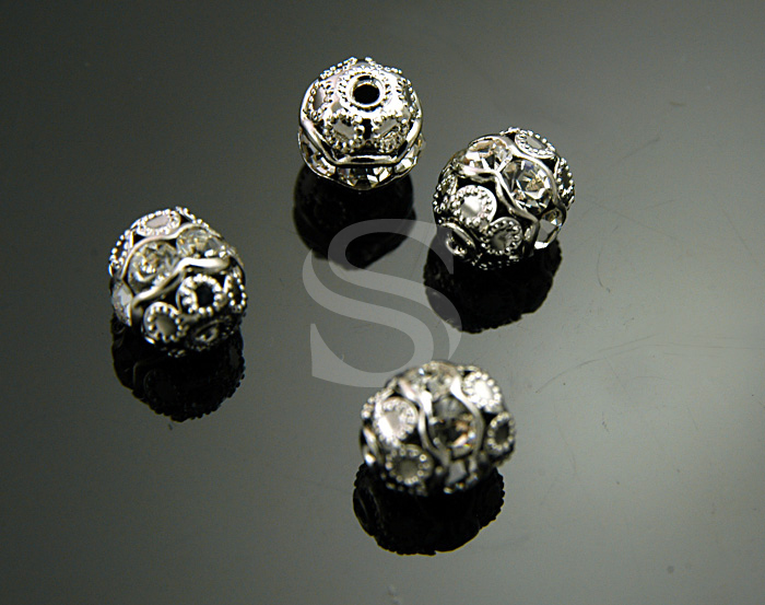 [H0248-C-RFCR] 4 Pcs / Delicate Ball Beads / Cubic Zirconia / 6mm x 6.8mm