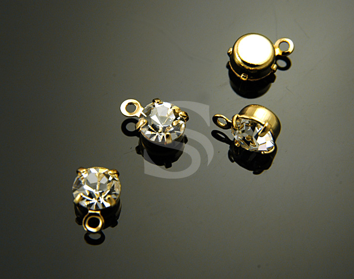[H0253-P1-GCR] 4 Pcs / Round Brilliant Cut CZ Charm / Brass / 5mm x 7.5mm