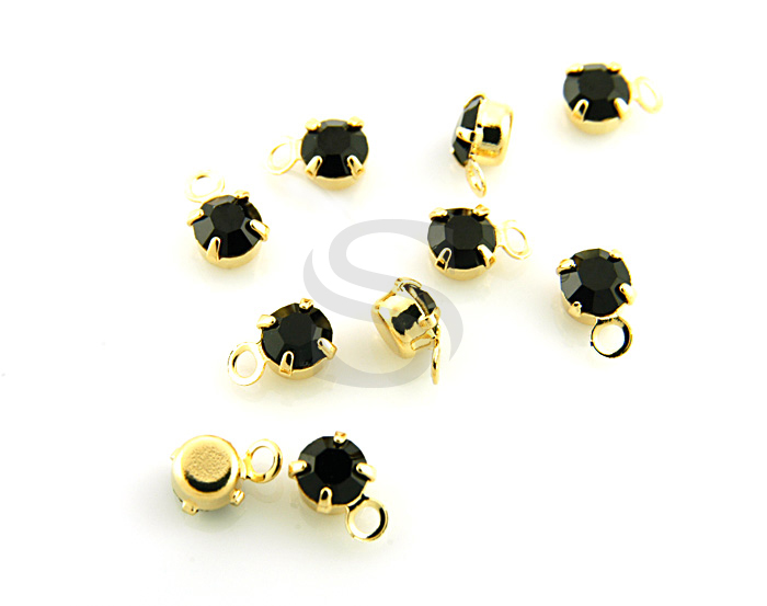 [H0253-P2-GJT] 10 Pcs / Petite Prong Setting CZ Charm / Brass / 4mm x 6mm