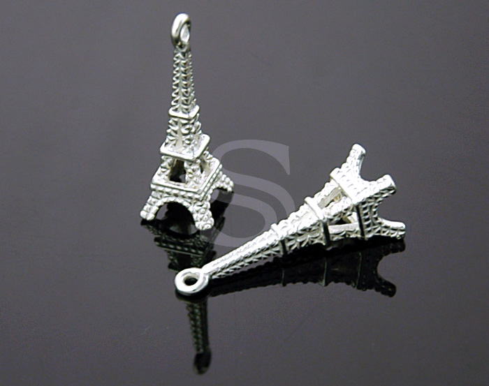 [B1565S-P] 2 Pcs / Eiffel Tower Charm / 925SS / 8mm x 25mm