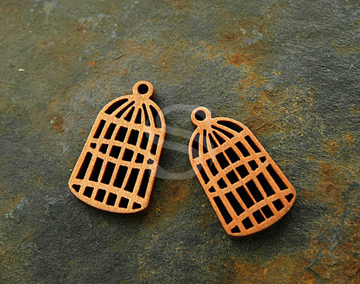 [UM0015-MA] 4 Pcs / Wooden Tiny Birdcage Charm / Wood / 19.5mm x 31.3mm