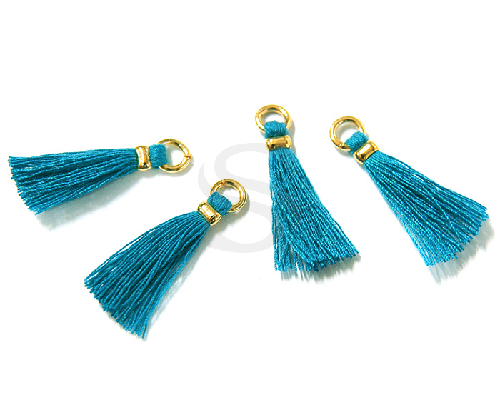 [UM0070-GPG] 4 Pcs / Mini thread tassel / Thread + Brass / 5mm x 23mm