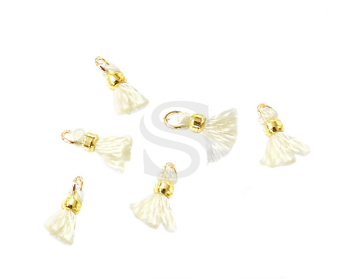 [UM0080-GCR] 6 Pcs / Mini thread tassel / Thread + Brass / 2mm x 7mm