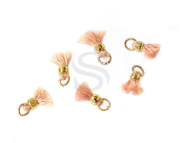 [UM0080-GPK] 6 Pcs / Mini thread tassel / Thread + Brass / 2mm x 7mm