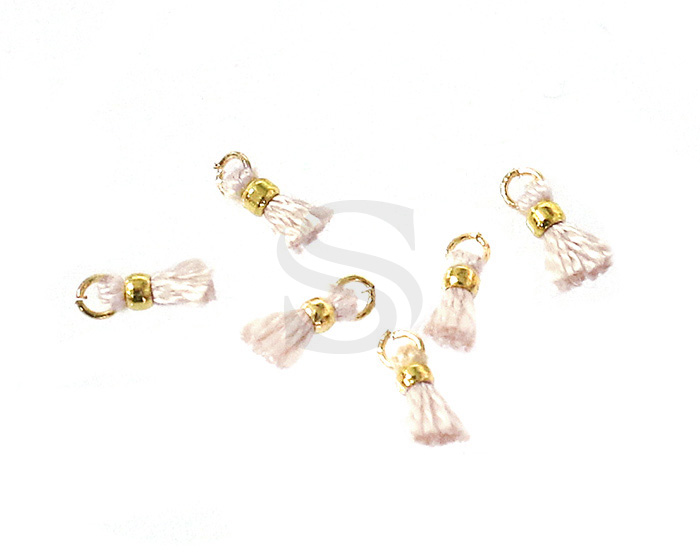 [UM0080-GPL] 6 Pcs / Mini thread tassel / Thread + Brass / 2mm x 7mm