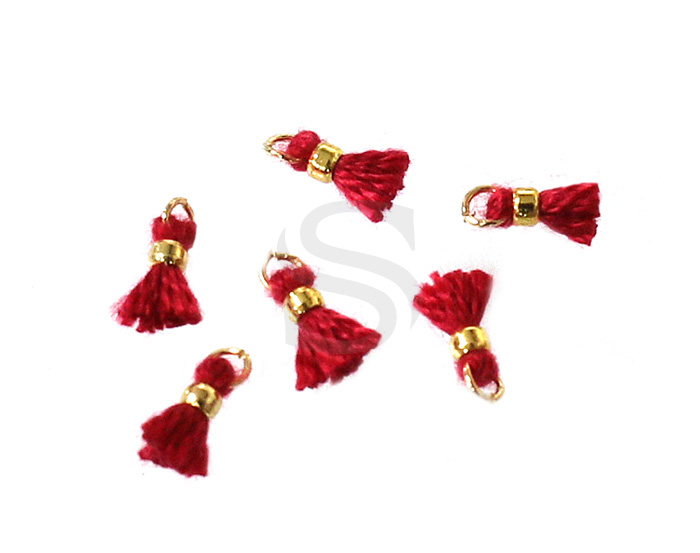 [UM0080-GRE] 6 Pcs / Mini thread tassel / Thread + Brass / 2mm x 7mm
