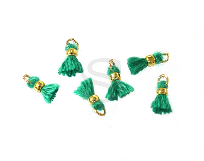 [UM0080-GTG] 6 Pcs / Mini thread tassel / Thread + Brass / 2mm x 7mm