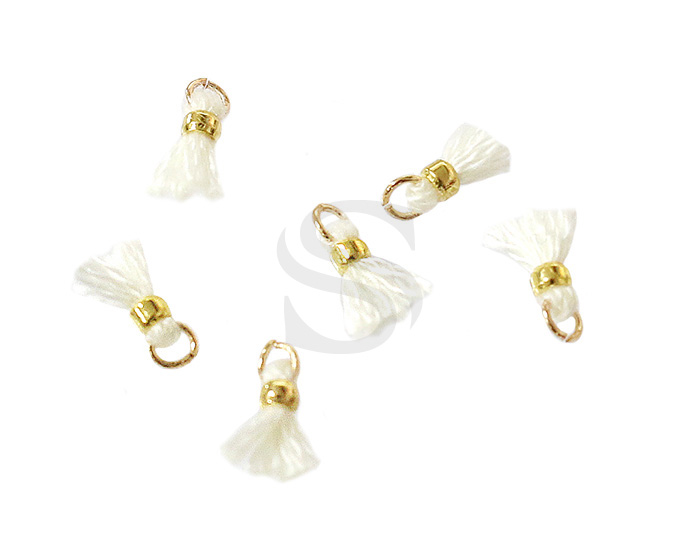 [UM0080-GWH] 6 Pcs / Mini thread tassel / Thread + Brass / 2mm x 7mm