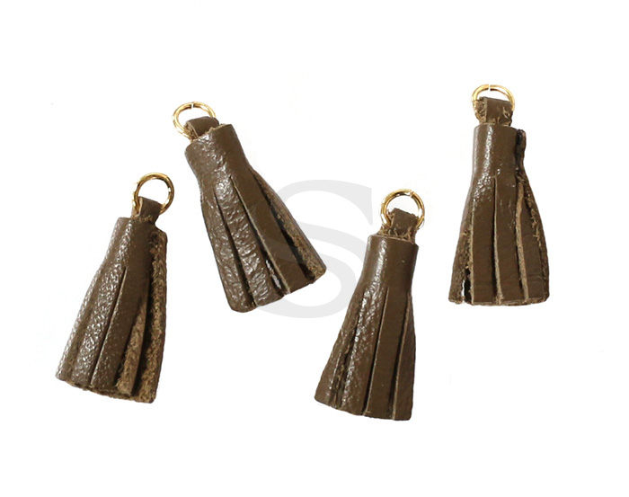 [UM0082-GBR] 4 Pcs / Leather tassel / Sheepskin Leather + Brass / 6mm x 22mm
