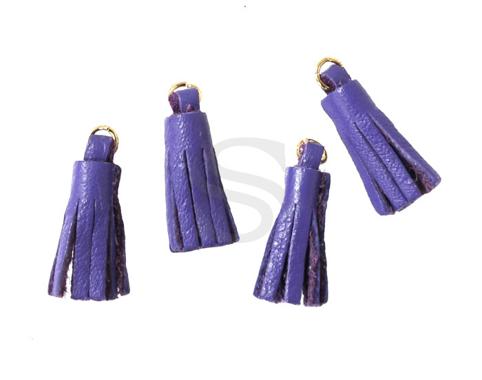 [UM0082-GDP] 4 Pcs / Leather tassel / Sheepskin Leather + Brass / 6mm x 22mm