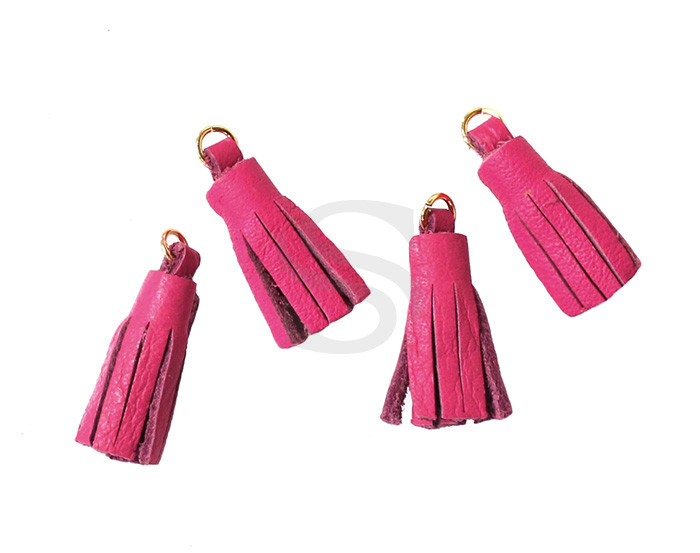 [UM0082-GHP] 4 Pcs / Leather tassel / Sheepskin Leather + Brass / 6mm x 22mm