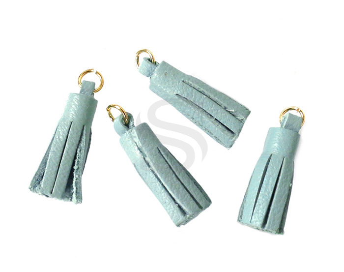 [UM0082-GMT] 4 Pcs / Leather tassel / Sheepskin Leather + Brass / 6mm x 22mm