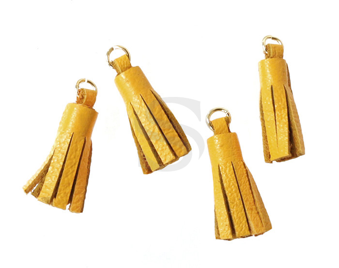 [UM0082-GMY] 4 Pcs / Leather tassel / Sheepskin Leather + Brass / 6mm x 22mm