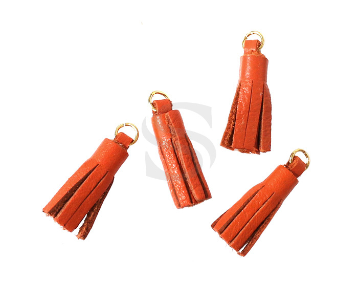 [UM0082-GOR] 4 Pcs / Leather tassel / Sheepskin Leather + Brass / 6mm x 22mm
