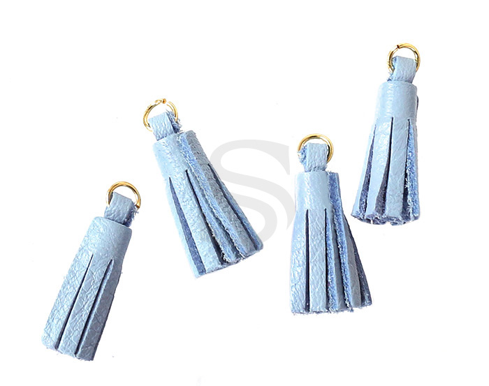 [UM0082-GPB] 4 Pcs / Leather tassel / Sheepskin Leather + Brass / 6mm x 22mm