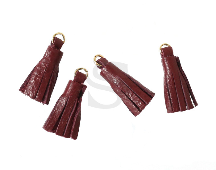 [UM0082-GWR] 4 Pcs / Leather tassel / Sheepskin Leather + Brass / 6mm x 22mm